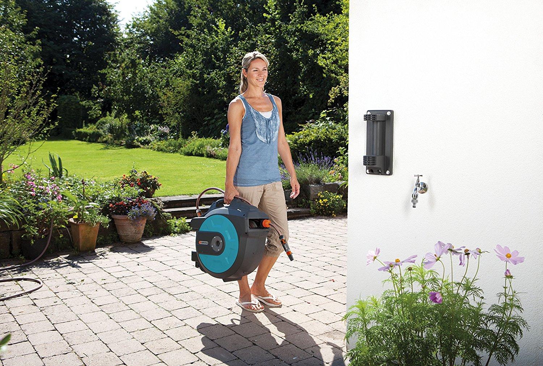 gardena wand schlauchbox 25 roll up automatic. Black Bedroom Furniture Sets. Home Design Ideas